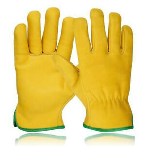 Driver Gloves Fleece Lined Leather Lorry Drivers Work Gloves Premium Quality NEW
