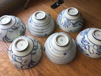 Vintage Porcelain Ceramic Blue & White Floral Rice Noodle Soup Bowl SET OF 6