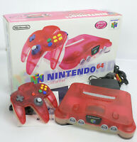 """Nintendo 64 Clear Red Console System Boxed NUS-001 Tested """"NTSC J"""" NUJ15269094"""