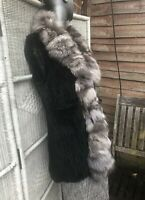 French VINTAGE BLACK RABBIT FUR GILLET JACKET Vest Genuine FUR 14-16 L-XXL