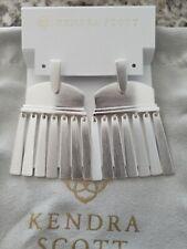 Kendra Scott Layne Brushed Silver Statement Earrings Pouch