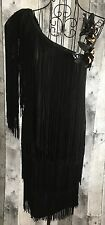 Vintage TNB Fringe Sequin One Shoulder Dress Black 1920s Flapper Look Bling 5/6