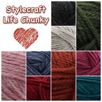 Stylecraft LIFE CHUNKY Acrylic and Wool Knitting Yarn 100g Ball
