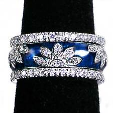 3-RING SET_BLUE ENAMEL FLORAL CZ BAND RINGS_SZ-10