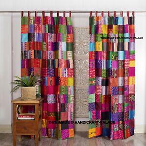 Indian Old Silk Sari Saree Boho Multi Curtain Door Drape Decor Silk Drapes India