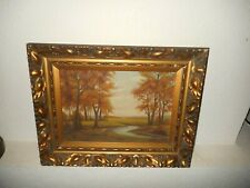 Old oil painting,{ Woodslandscape with a river, nice frame! }.