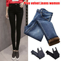 Women High Waist Thermal Skinny Jeans Fleece Lined Denim Pant Stretchy Trousers