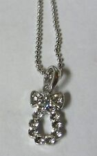Charm on Silver Necklace Crystal Teardrop with Bow
