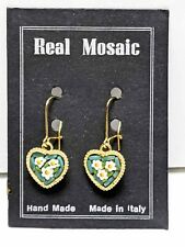 Made In Italy REAL Mosaic Heart Shaped Wire pierced Gold Tone Earrings Vintage