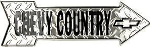 """Chevy Country 6"""" x 20"""" Diamond Embossed Metal Arrow Sign"""