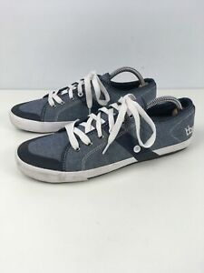 MENS TBS UK 9 EU 43 BLUE GREY TEXTILE LACE UP SMART CASUAL WORK TRAINERS SHOES