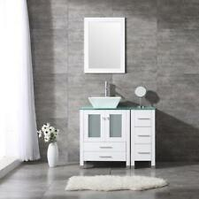 "36"" White Bathroom Vanity Cabinet Glass Top Single Vessel Sink w/Mirror Set"