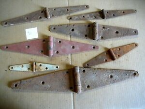 LOT of 7 ANTIQUE SALVAGED STEEL STRAP HINGES MIXED SIZES - BARN SHED DOORS #51