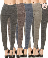 5 Pack Women's High Waisted Fleece Lined Leggings Warm Winter Thermal Thick Pant