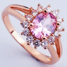 Size 7 PINK C.Z FASHION FLOWER DESIGN Women ROSE GOLD PLATED RINGS
