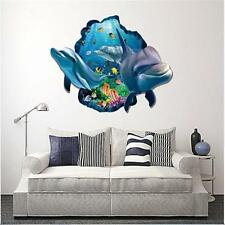 3D Dolphin Fish Cracked Wall Floor Decals Removable Stickers Kids Bathroom Decor