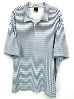 Nike Golf Mens White Stripe Short Sleeve Drive-Fit UV Golf Polo Shirt Size XXL
