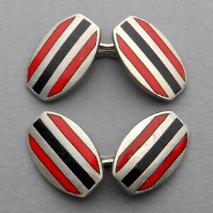French, Antique Art Deco Cufflinks. Silver and Enamel. Red and Black.