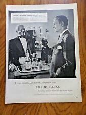 1956 Walker's De Luxe Whiskey Ad Basil Rathbone Shirlock Holmes & Butler Robert