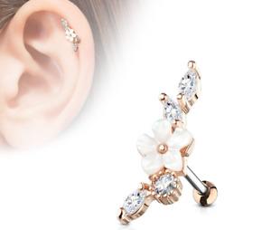 Ear Tragus Stud Piercing Labret 316L Surgical Steel Earrings Helix Pearl Flower