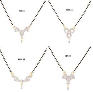 Indian Fashion AD Black Beads Fancy Mangalsutra Wedding Jewelry Necklace Set NJK