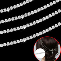 1 Metre Womens Chain Belt Rope Rhinestone Trim Diamante Silver Crystals Necklace