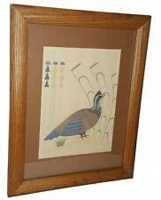 Gerald Nailor Silkscreen Bob White Quail Bird Framed and Matted