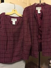 Jessica Howard Women's 2 Pc. Match Tweed Tank Top Jacket Suit Size 16 Burgundy