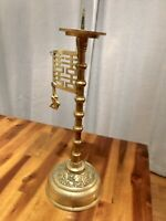 Vintage Chinese Koi Fish Spiked Candle Holder Brass Art, Nice!