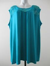 Catherines Plus Size 2X 22/24W blue rayon/spandex casual sleeveless tank, cami