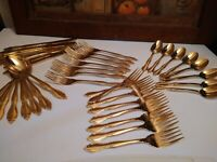 40 pc SET CUSTOMCRAFT Stainless Flatware  GOLD Stainless Steel Japan