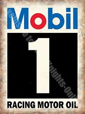 Mobil 1 Racing Motor Oil, Vintage Garage, Motorsport Advert Small Metal Tin Sign