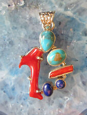 Pendant Red Coral and Turquoise Native American Sterling Silver 925