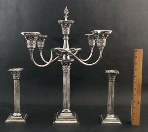 Antique 19thC Gorham Silverplate Corinthian Column Candelabra & Candlestick Set