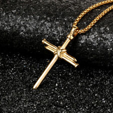 """SP13BX NEW ICED OUT NAIL CROSS PENDANT /&2mm//24/"""" BOX CHAIN HIP HOP NECKLACE"""