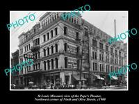 OLD LARGE HISTORIC PHOTO OF St LOUIS MISSOURI, VIEW OF THE POPE THEATER c1900