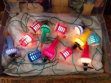 12 × VINTAGE CHRISTMAS FAIRY LIGHTS. BAKELITE.  MAZDA. BOXED. WORKING. LANTERNS.