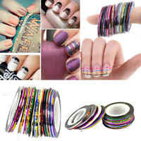 10pcs Mixed Colors Rolls Striping Tape Line Nail Art Tips Decoration Stickers