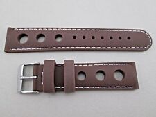 20mm brown silicone rubber racing watch band strap stitched in white