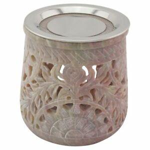 Räucherstövchen JAMAL aus indischem Speckstein mit Edelstahlsieb + Metallscheibe