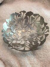 Rocha. John Rocha Decorative Fruit Bowl Stylish Leaf Flower Silver Art Bowl VGC