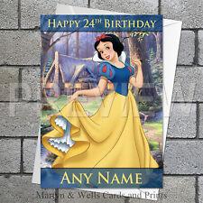 Snow White birthday card. 5x7 inches. Disney Princess. Personalised + envelope.
