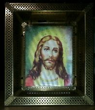 JESUS CHRIST & LAST SUPPER 3 DIMENSIONAL HOLOGRAPHIC GOLDTONE LIGHTED PICTURE