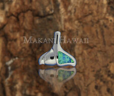 Sterling Silver Blue Opal Whale Tail Pendant Hawaiian Jewelry SOP1065