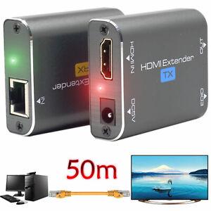 HDMI Extender Repeater AV Transmitter Over Single LAN RJ45 50m Cat5e Cat6 Cable
