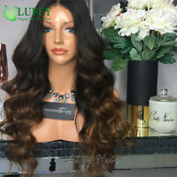 1B/8 Ombre Color Lace Front Wigs Two Tone Wave Human Hair Full Wigs Pre Plucked