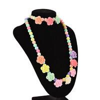 Lovely Kids Necklaces Bracelet Rose Shaped Baby Girl Party Multicolor FaYNUK