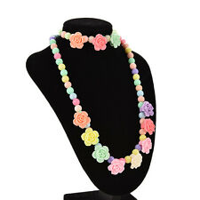 Colorful Beads Necklace Bracelet Set Baby Girls Jewelry Good gift Rose JS