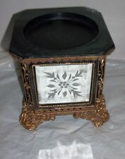 Decorative Base for Statue Figurine Mirrored Side Panels Etched & Gold Scrolls