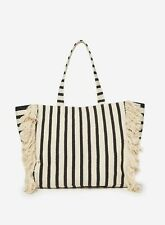 Dorothy Perkins Womens Multi Stripe Fringe Beach Shopper Bag Magdot Closure
